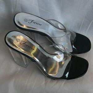 Women's Transparent Chunky Heel Slip On Shoes